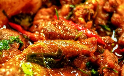 Close up with curry with chillies