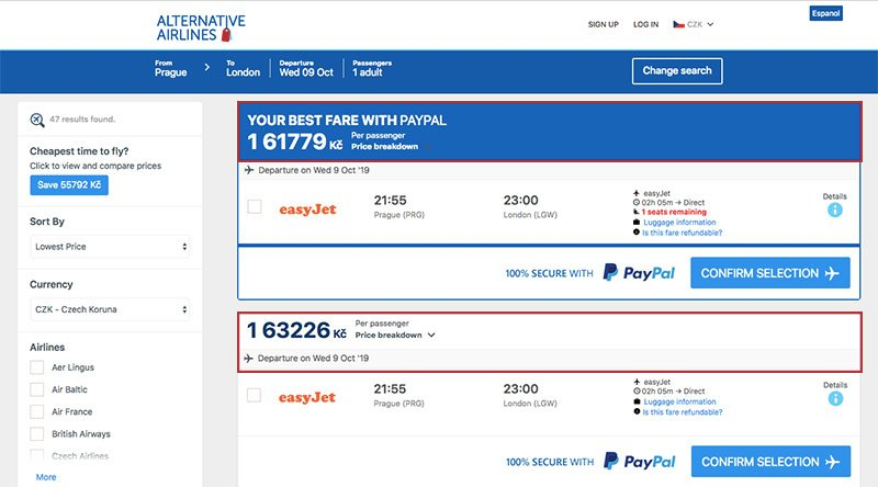 Alternative Airlines Czech koruna search results page