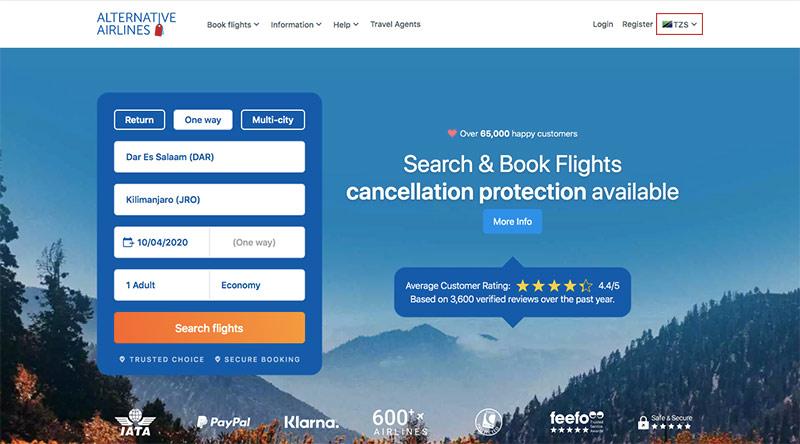 Alternative Airlines Flight Search DAR–JRO 10/04/20