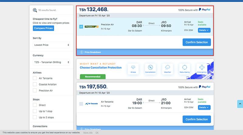 Alternative Airlines flight search results flight selected DAR–JRO 10/04/20