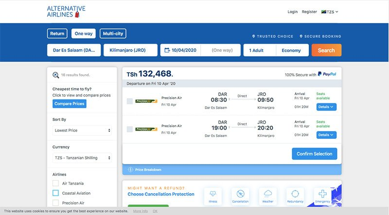 Alternative Airlines flight search results page DAR–JRO 10/04/20