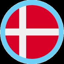 Denmark round flag blue border