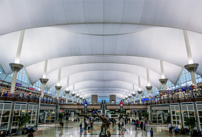 Interior shot of Denver's main terminal building, with a focus on the architectural roof