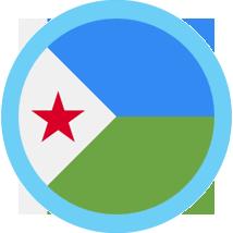 Djibouti round flag blue border