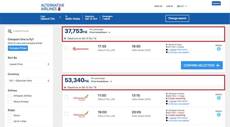 Alternative Airlines Djiboutian franc search results page