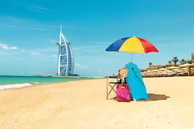 Dubai Beach with Burj Khalifa in the background