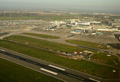 Aerial view of Dublin Airport runway