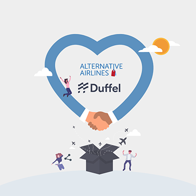Graphic image showing the Alternative Airlines and Duffel logo's interlocked by a blue heart
