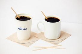 disposable and reusable Alaska Air coffee cups