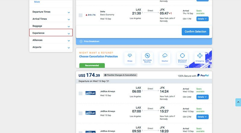 Alternative Airlines filters search results page LAX–JFK 15.09.21. Experience filters highlighted