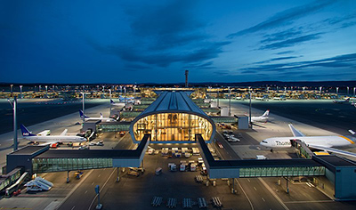 Exterior of Oslo Airport at Night
