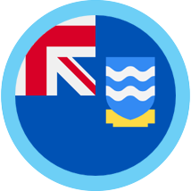 Falkland Islands round flag blue border