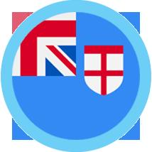 Fiji Flag Blue Round Border