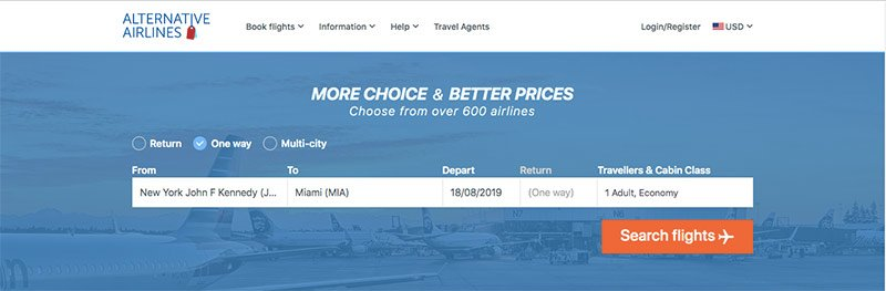 Alternative Airlines search bar with JFK to Miami selected
