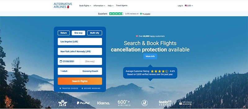 LAX-JFK Flight Search Form 27.08.21