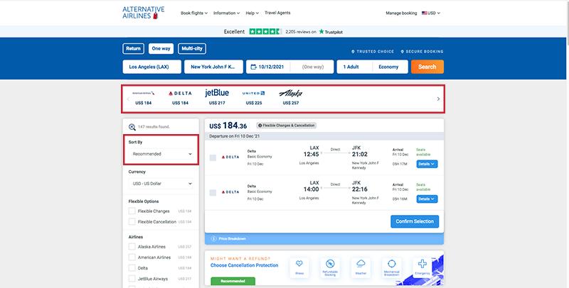 Alternative Airlines Flight Search Results JFK-LAX 10/12/21