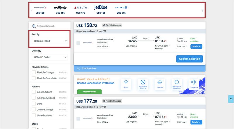 Alternative Airlines Flight Search Results JFK-LAX 15/11/21