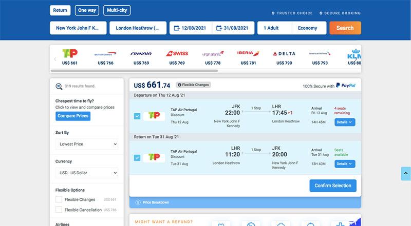 Alternative Airlines Flight Search Results JFK-LHR 12/08-31/08