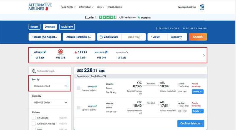 Alternative Airlines Flight Search Results Toronto-ATL 24/05/21