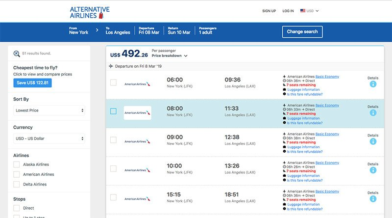 Alternative Airlines Flight Search Results Page - JFK—LAX