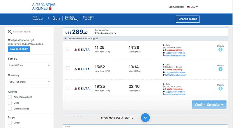 Alternative Airlines flight search result from JFK to Miami