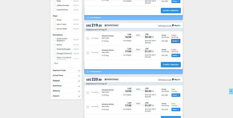 LAX-JFK Flight Search Results 27.08.21 'Details' Button Highlighted