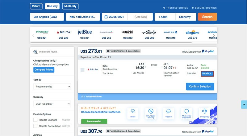Flight Search Results Details Highlighted
