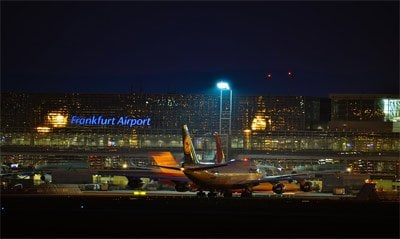 The back of Frankfurt Airport at night