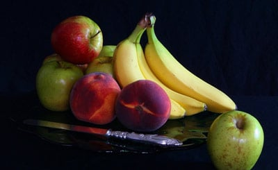 Mix of fruit — apples, banana and peaches