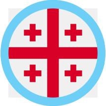 Georgia Flag Round Blue Border