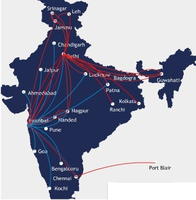 GoAir Route Map