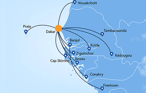 Groupe Transair route map