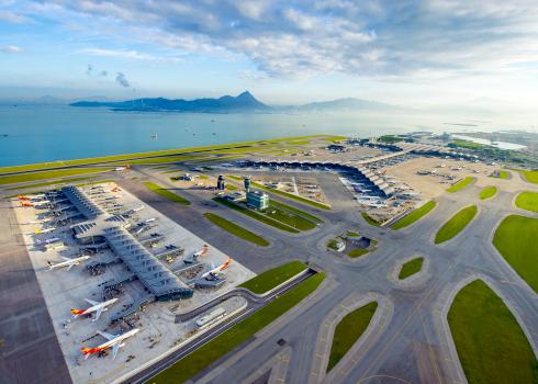 birds eye view of Hong Kong Airport, showing the runway