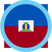 Haiti round flag blue border