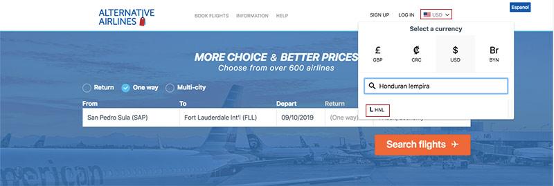 Alternative Airlines currency changer Honduran lempira