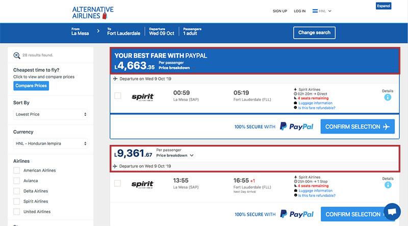 Alternative Airlines Honduran lempira search results page