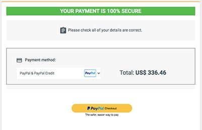 Secure Payment Notice showing PayPal as selected payment type