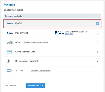 Alternative Airlines payment page showing PayPal & Paypal Credit