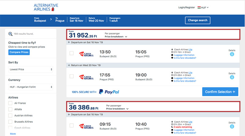Alternative Airlines Hungarian forint search results page