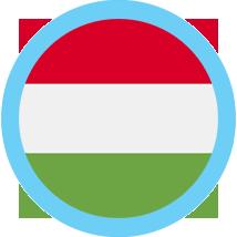 Hungary round flag blue border