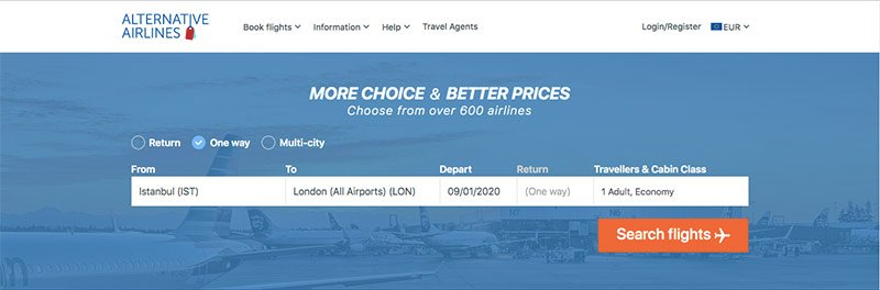 Alternative Airlines search form IST to LON 09/01/2020