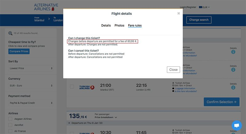 Alternative Airlines search results flight details IST to LON 09/01/2020