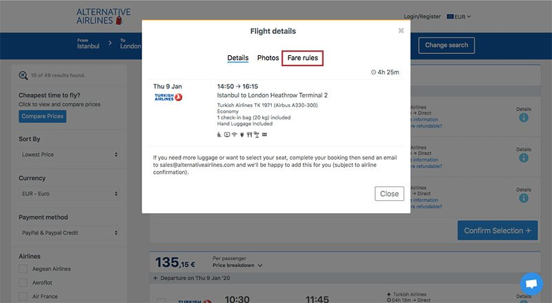 Alternative Airlines flight details IST to LON 09/01/2020