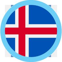 Iceland round flag blue border