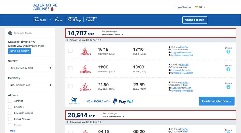 Alternative Airlines Indian rupee search results page