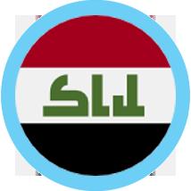 Iraq Flag Round blue border
