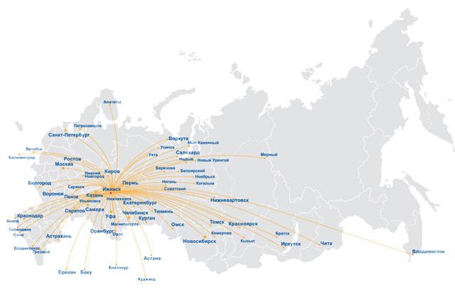 Izhavia Route Map