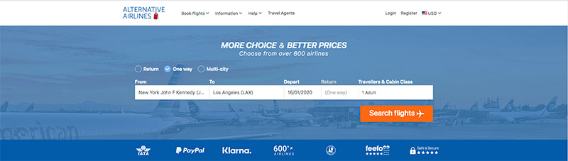 JFK—LAX 16/01/20 Alternative Airlines Flight Search