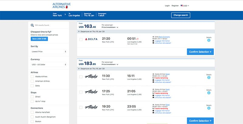 JFK—LAX 16/01/20 Alternative Airlines flight search results page