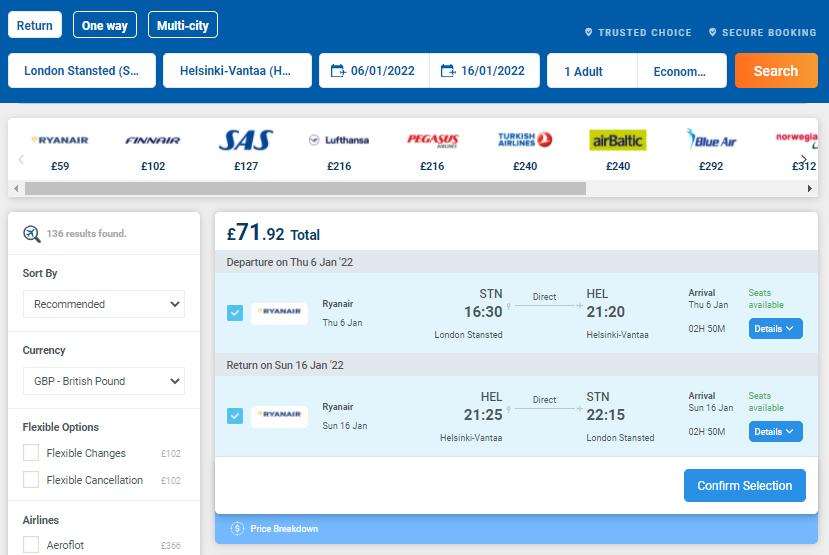 Alternative Airlines Flight Search Results STN-HEL